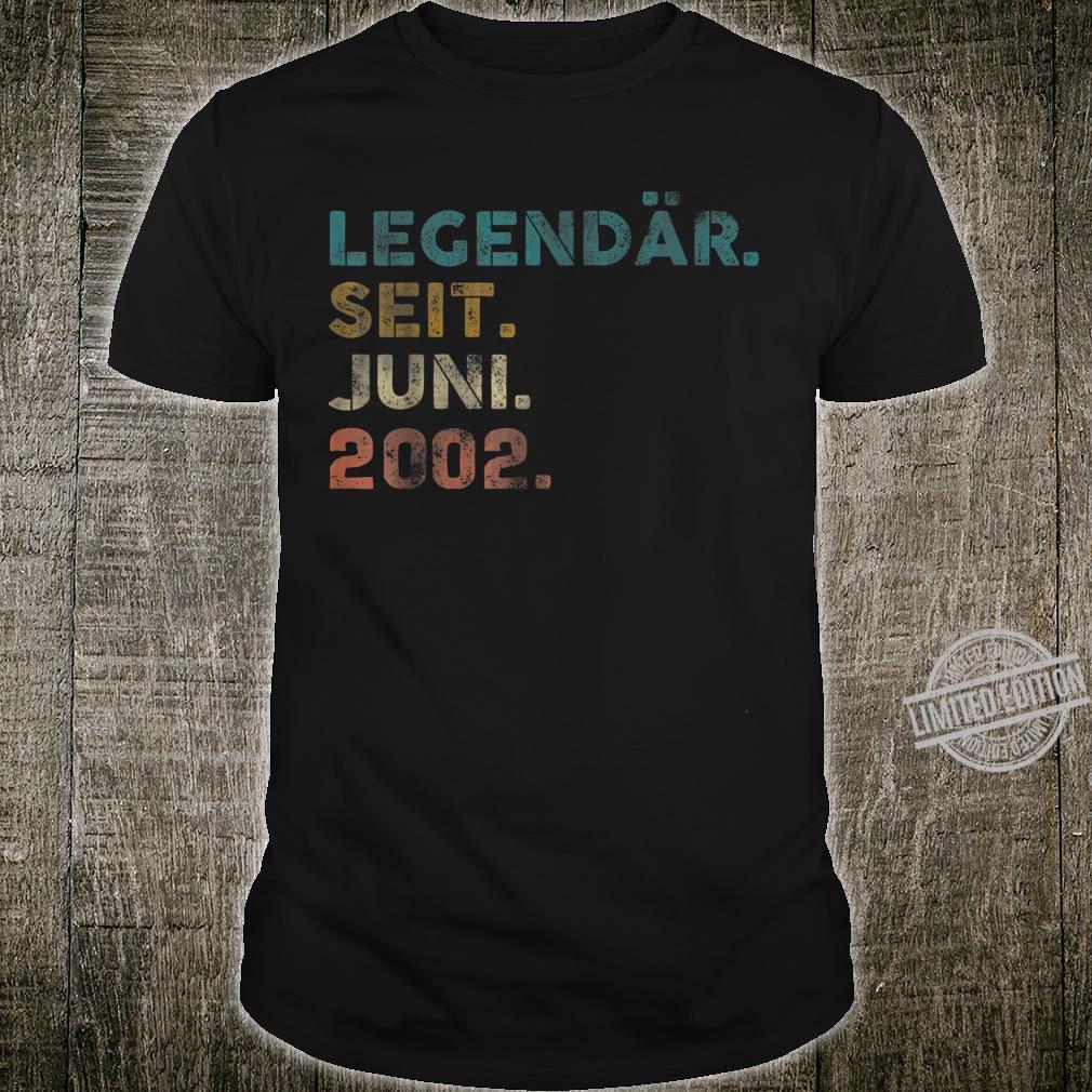 18. Geburtstag Geschenk Juni 2002 Jungen Mädchen Designs Shirt