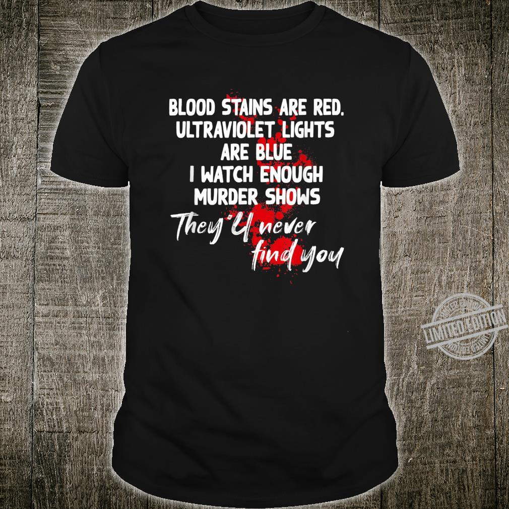Blood stains are red ultraviolet lights are blue Trending Shirt
