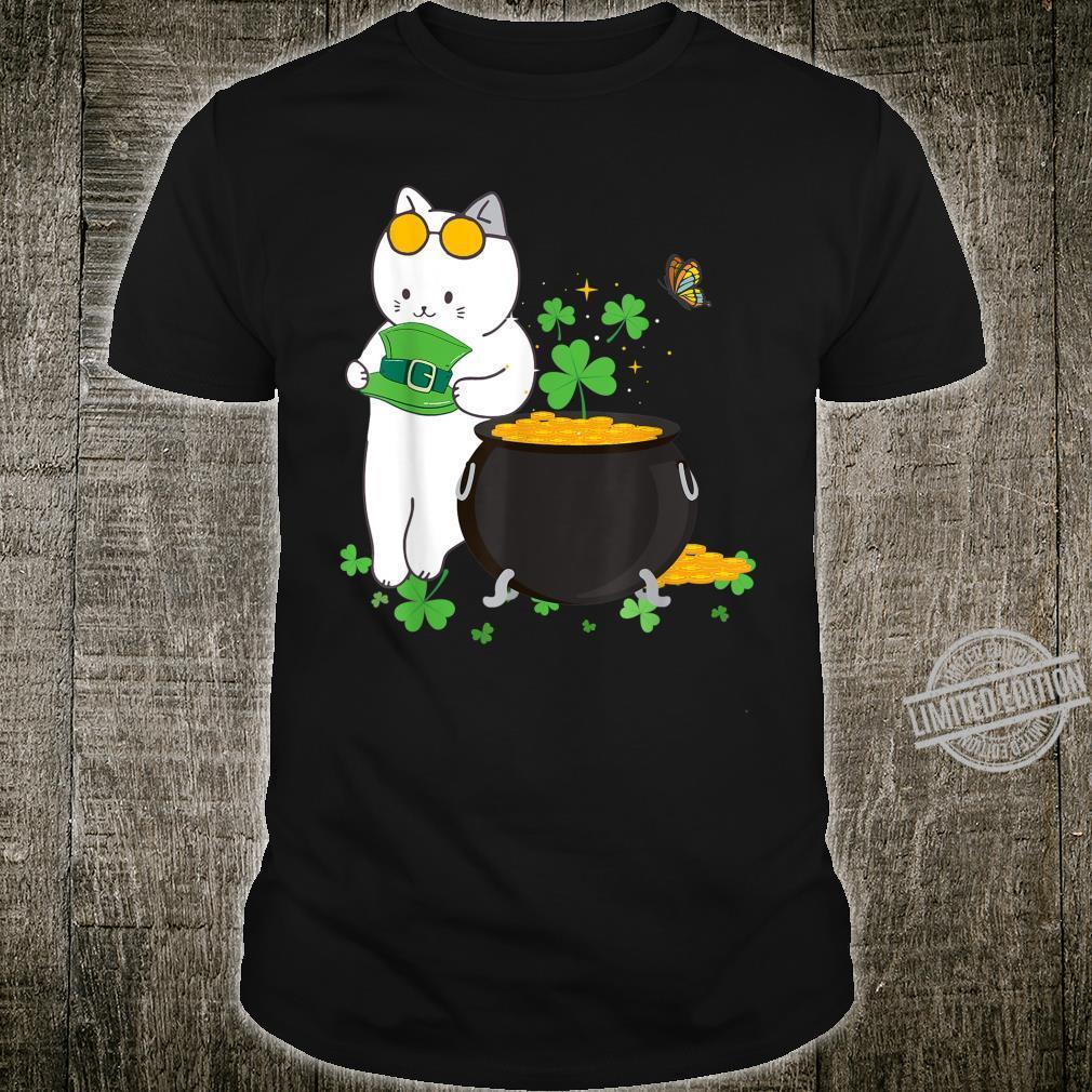 Cat Leprechaun Hat Shamrock Gold Pot St Patrick's Day Shirt