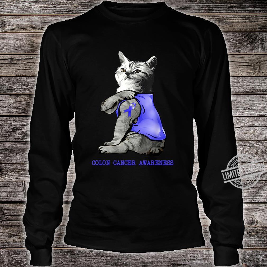 Cat Showing Dark Blue Ribbon Tattoo Colon Cancer Awareness Shirt