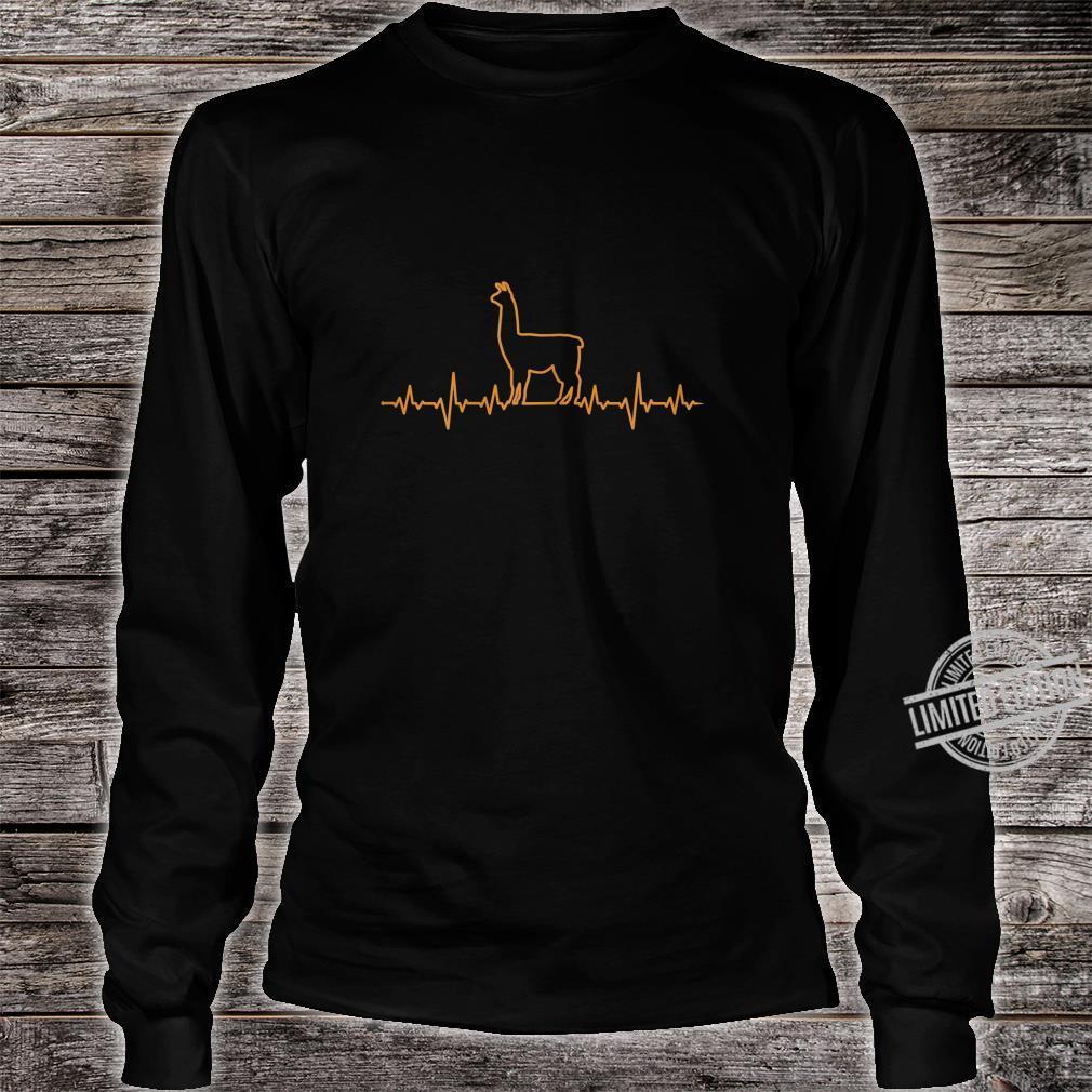 Damen Llama Herzschlag EKG Shirt long sleeved