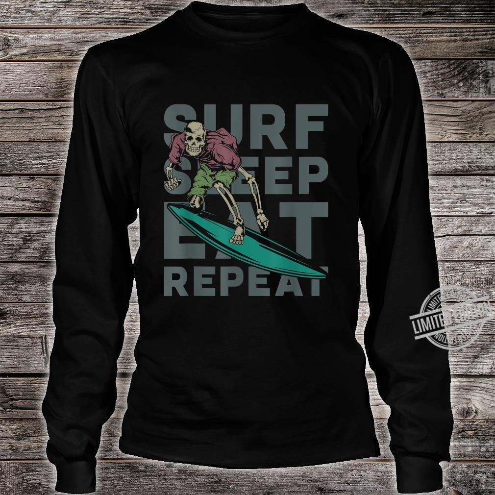 Eat Sleep Surf Repeat Skeleton Surfer Shirt long sleeved