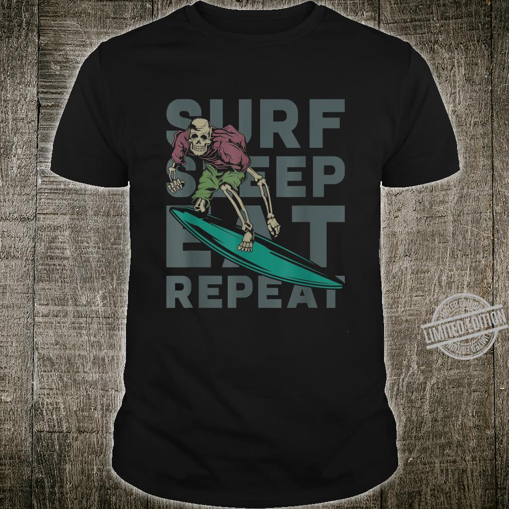 Eat Sleep Surf Repeat Skeleton Surfer Shirt
