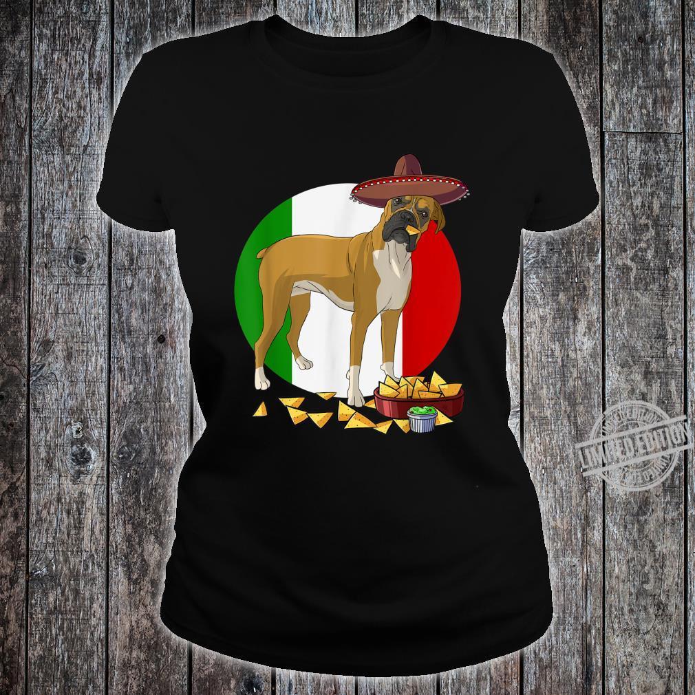 Funny Cinco De Mayo Mexican Boxer Dog Shirt ladies tee