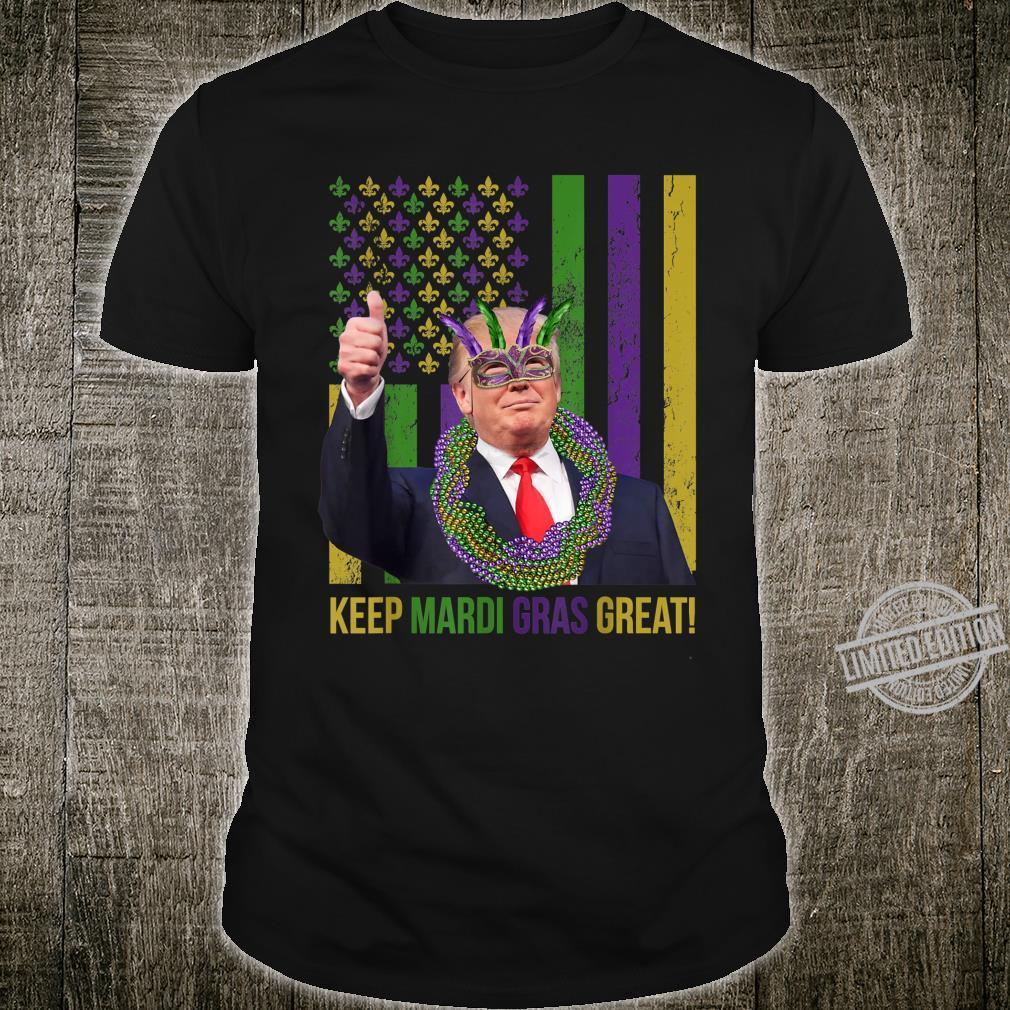 Funny Distressed Trump Keep Mardi Gras Great American Flag Shirt