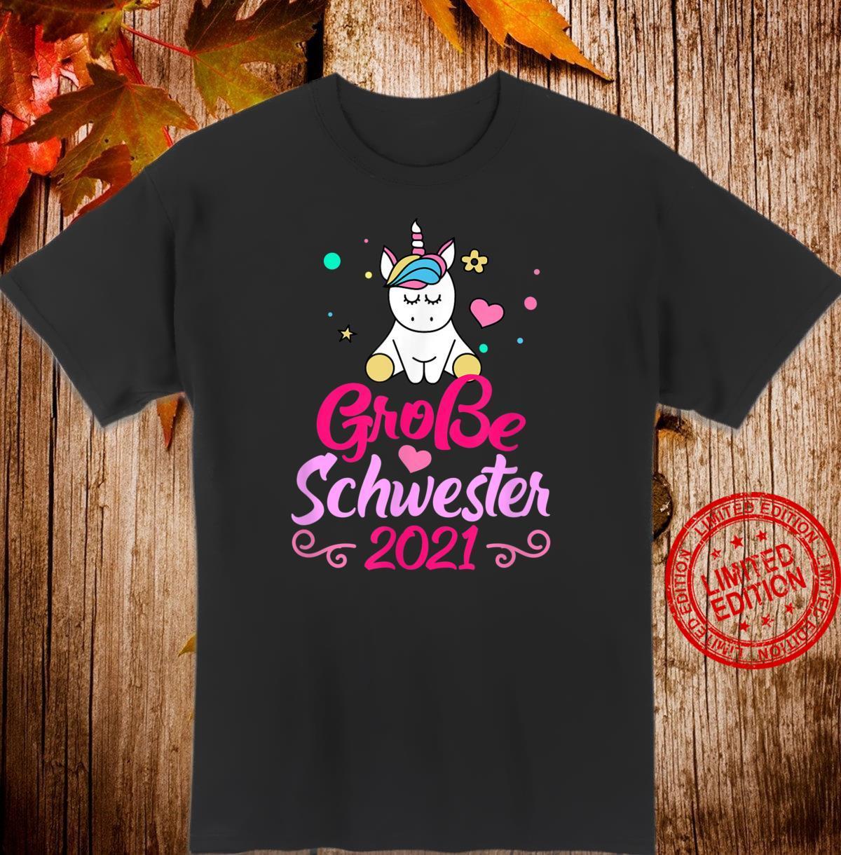 Ich werde große Schwester 2021 Herz Geschwister Geschenk Shirt