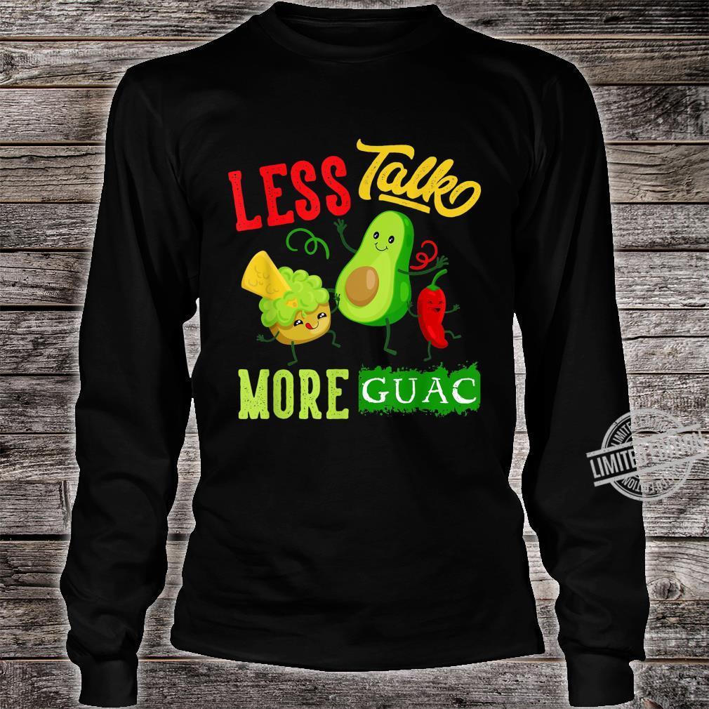 Less Talk More Guac Cute Kawaii Avocado Vegan Shirt long sleeved