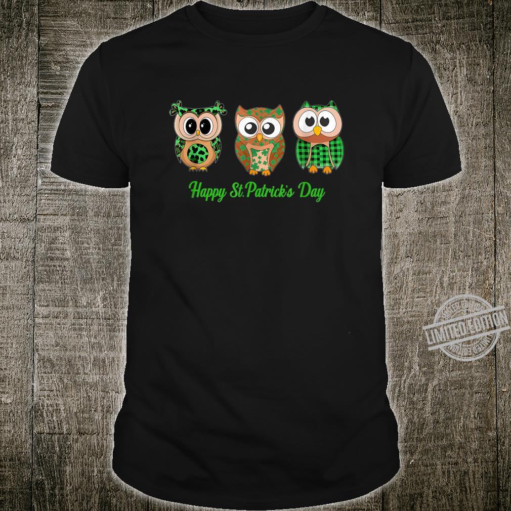 Owl happy st patrick's day green leopard plaid Shirt