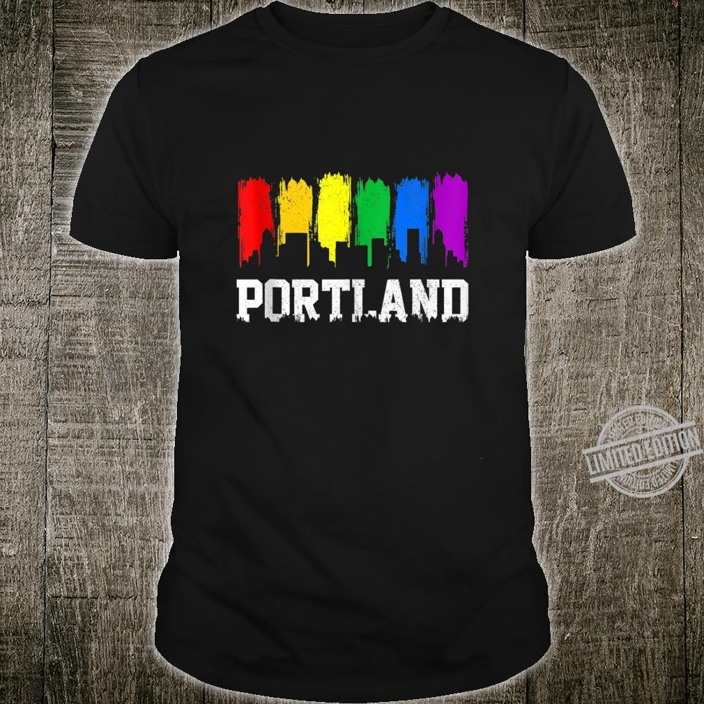 Portland Skyline Oregon Rainbow LGBTQ Gay Pride Month Shirt