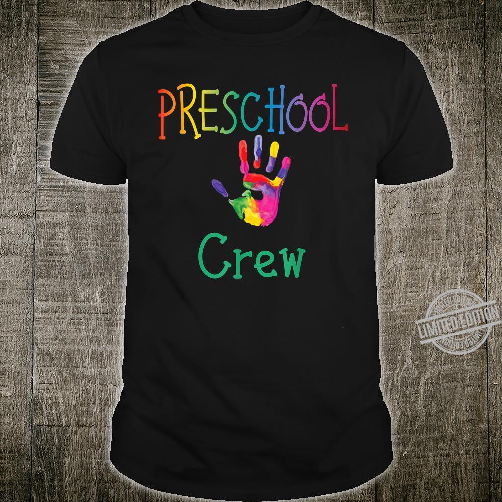 Preschool Crew with Colorful Handprint for PreK Teachers Shirt