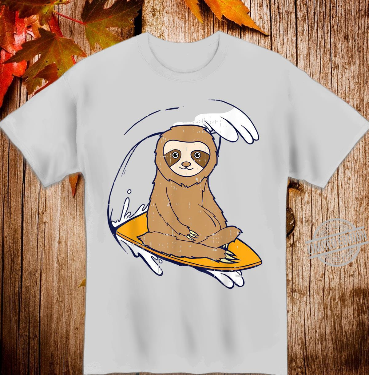 Sloth Surfing Beach Waves Kawaii Animal Shirt