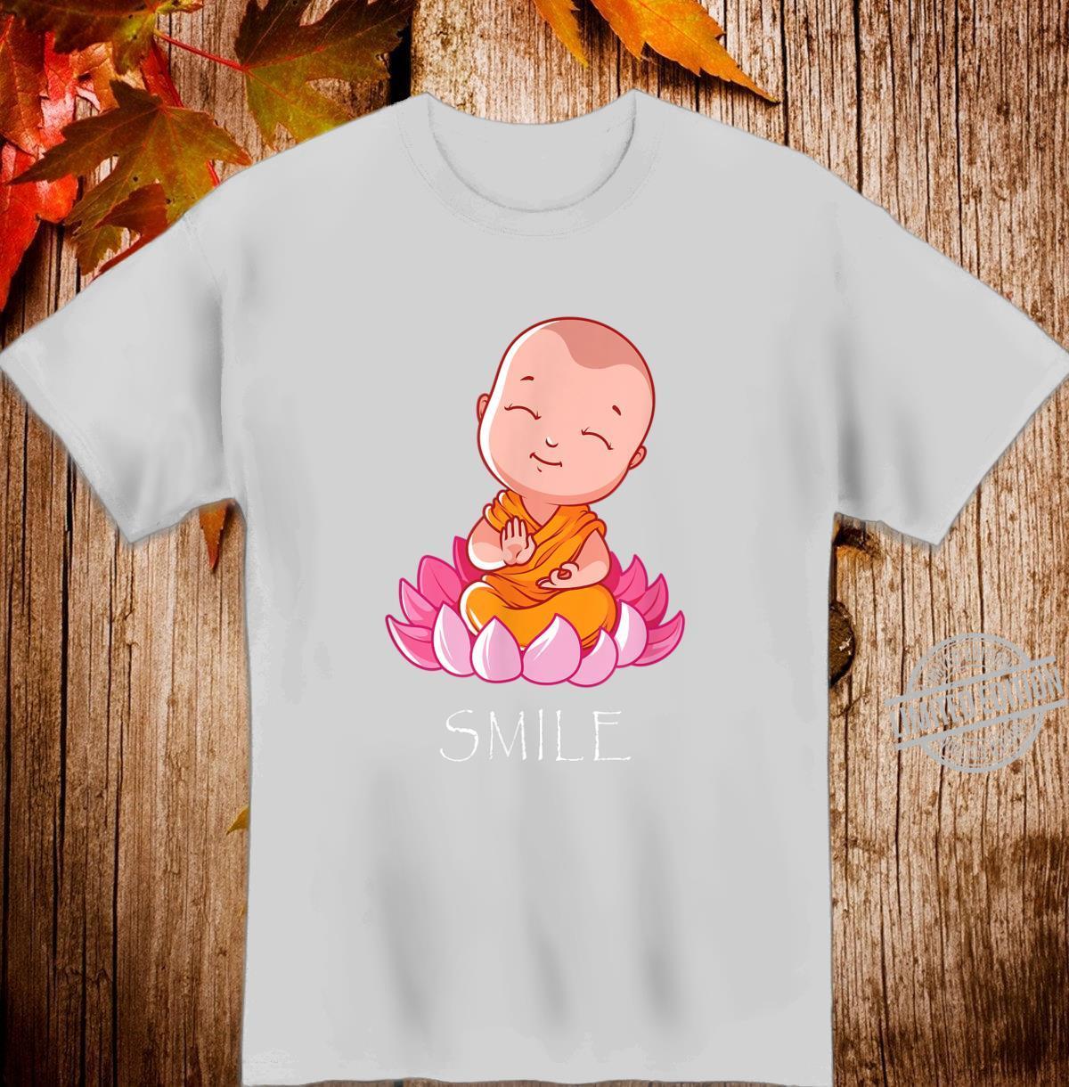 Smile Baby Buddha on a Lotus Flower Yoga Shirt