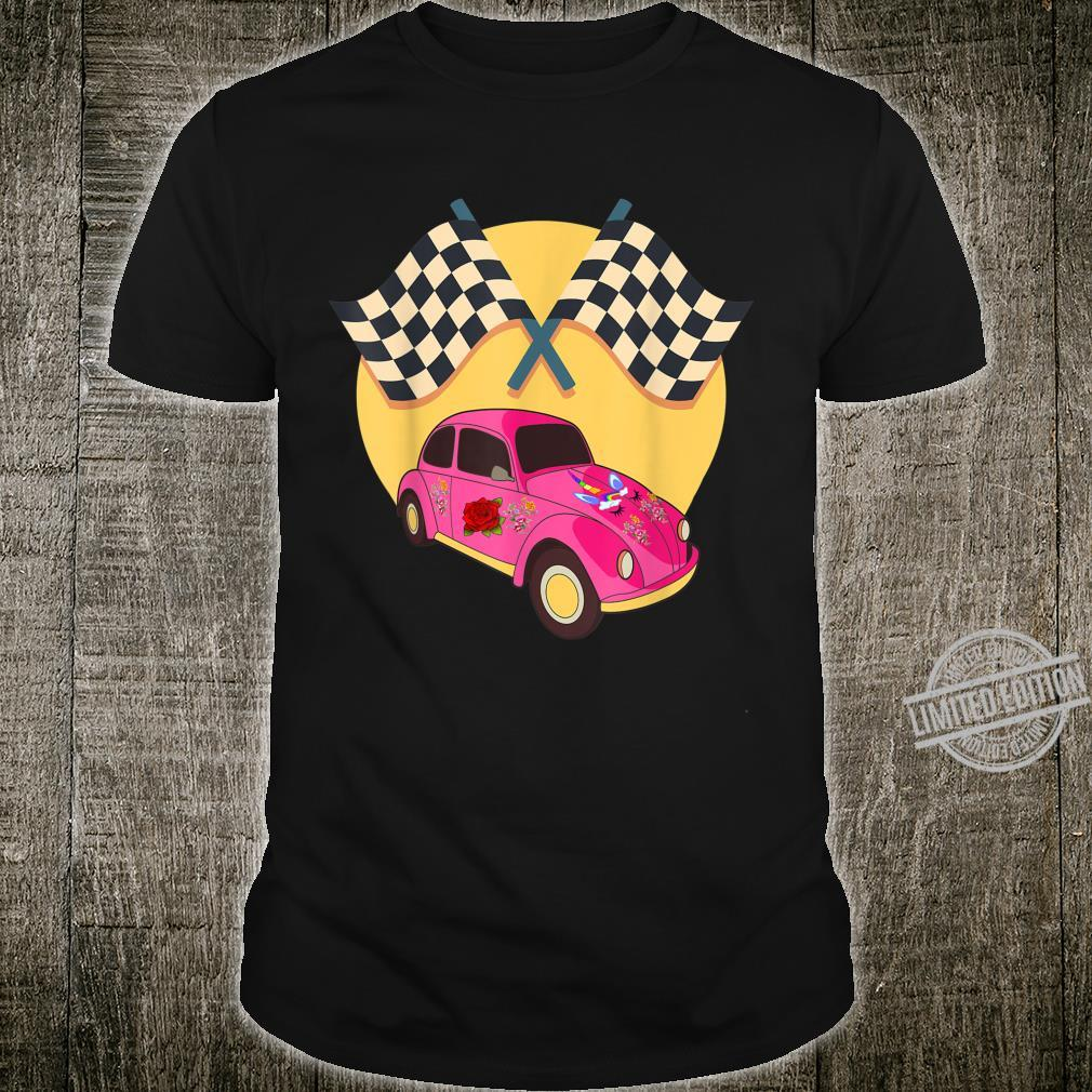 Speed Unicorn Racing Flag happy Magical Flower Car Shirt
