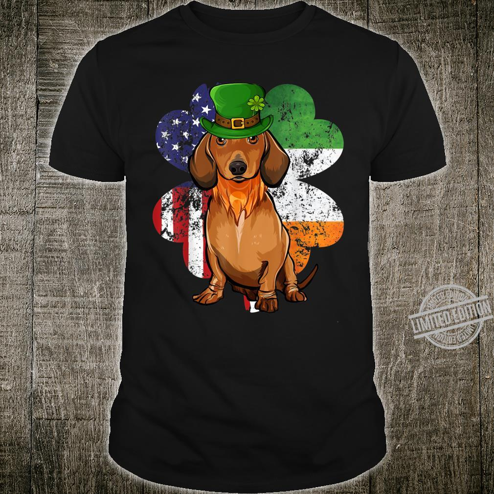 St Patricks Day Irish American Flag Brown Dachshund Dog Shirt