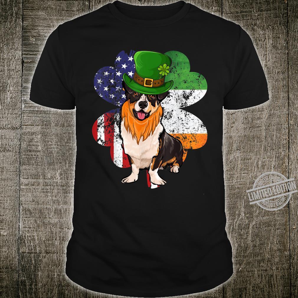 St Patricks Day Irish American Flag Cardigan Welsh Corgi Dog Shirt