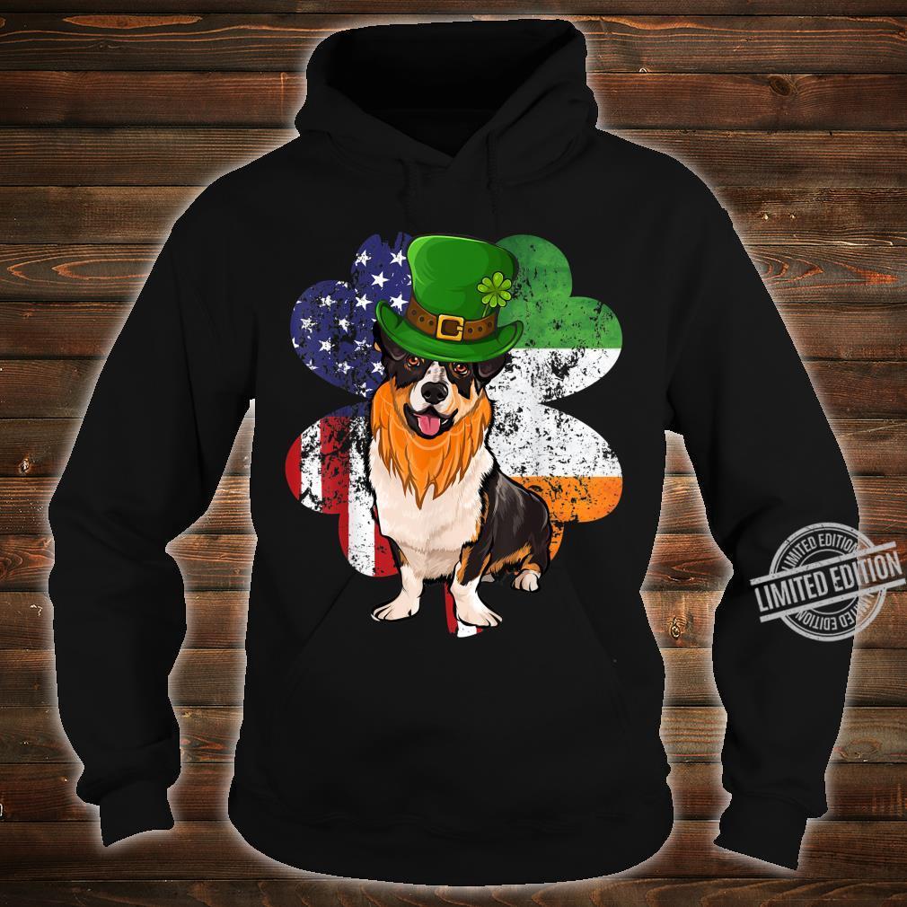 St Patricks Day Irish American Flag Cardigan Welsh Corgi Dog Shirt hoodie
