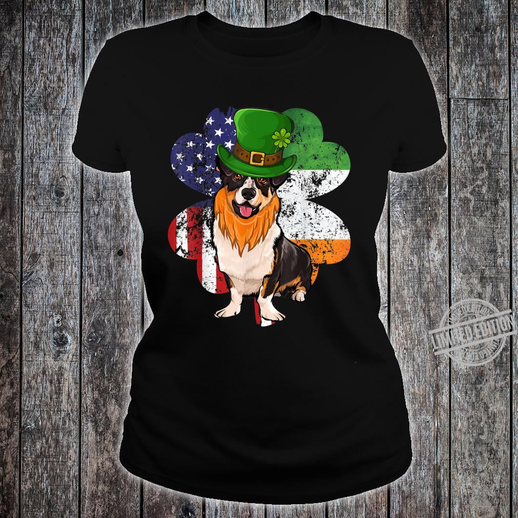St Patricks Day Irish American Flag Cardigan Welsh Corgi Dog Shirt ladies tee