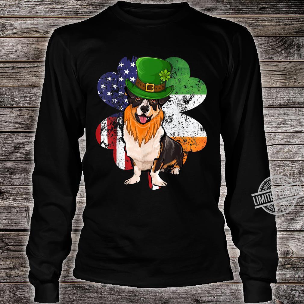 St Patricks Day Irish American Flag Cardigan Welsh Corgi Dog Shirt long sleeved