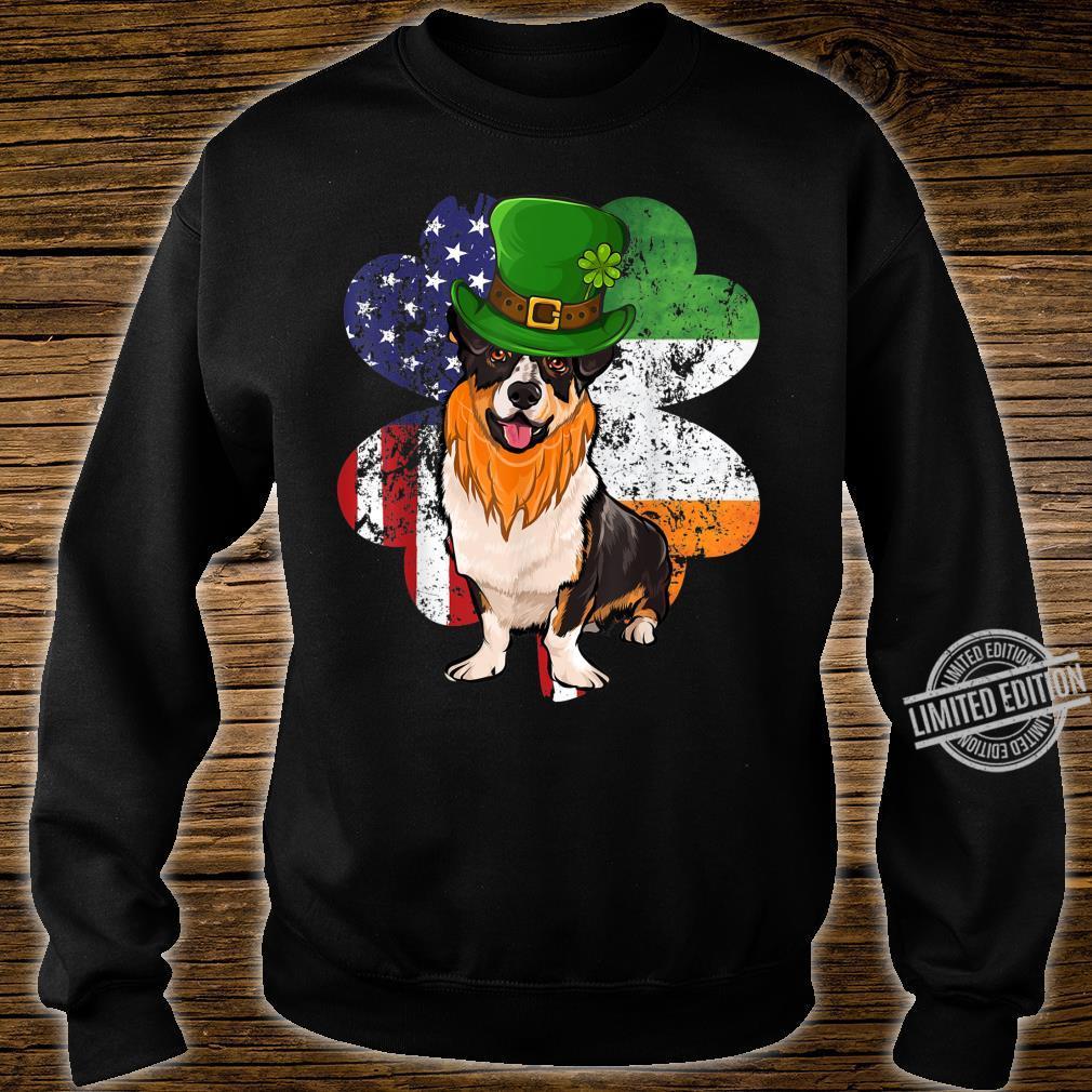St Patricks Day Irish American Flag Cardigan Welsh Corgi Dog Shirt sweater