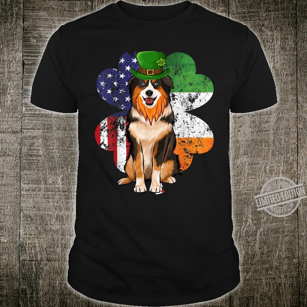 St Patricks Day Irish American Flag Miniature Shepherd Dog Shirt