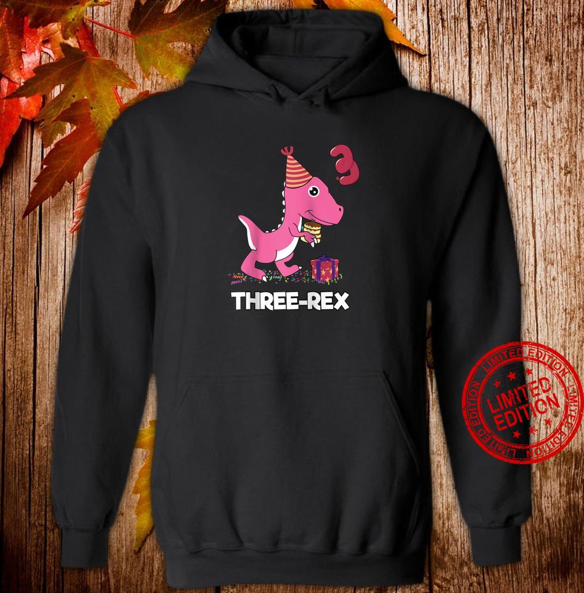Three Rex 3 Year Old Boy Girl TRex Dinosaur Birthday Shirt hoodie