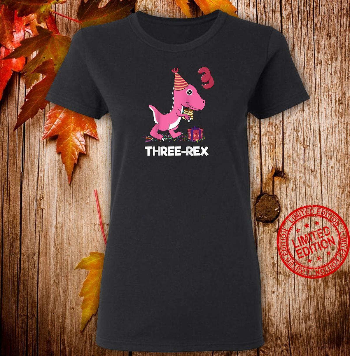 Three Rex 3 Year Old Boy Girl TRex Dinosaur Birthday Shirt ladies tee