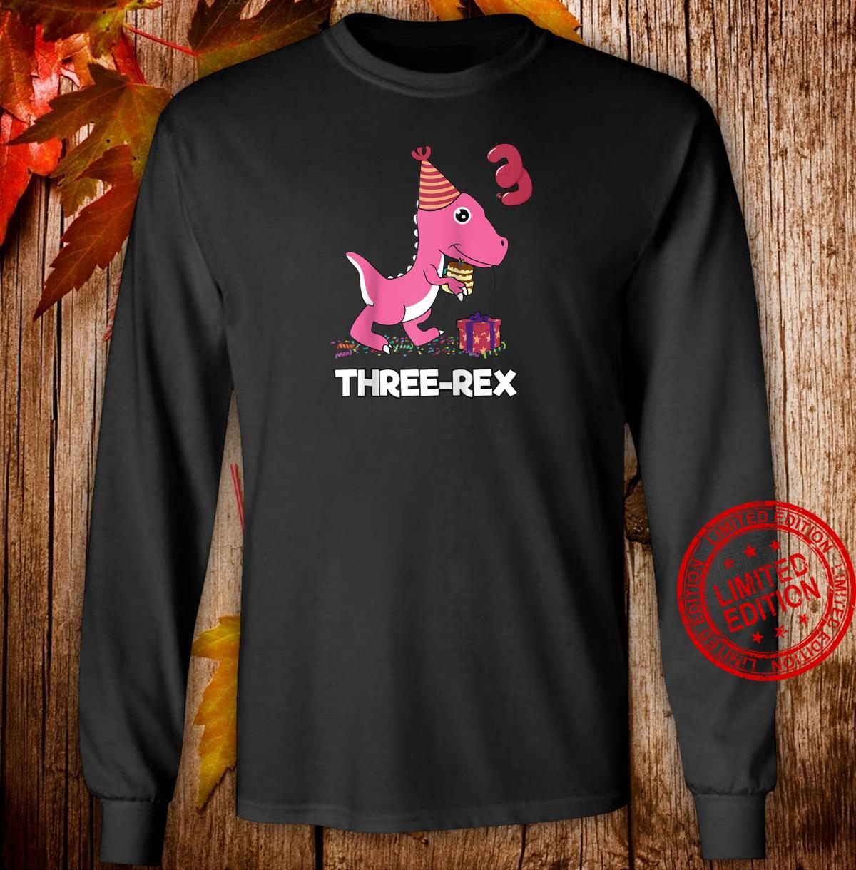 Three Rex 3 Year Old Boy Girl TRex Dinosaur Birthday Shirt long sleeved