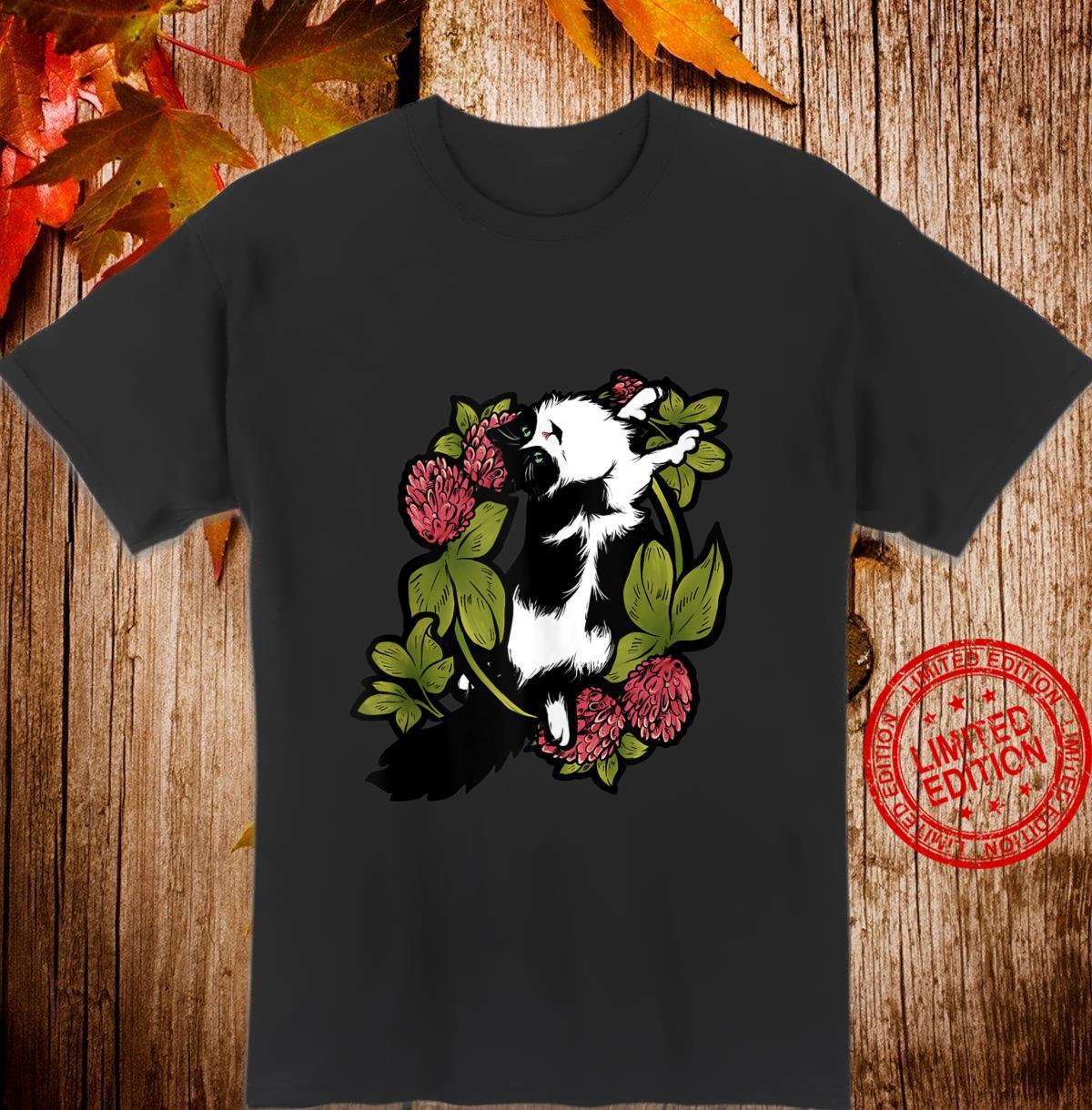 Tuxedo Cat Clover Artwork Floral Shirt