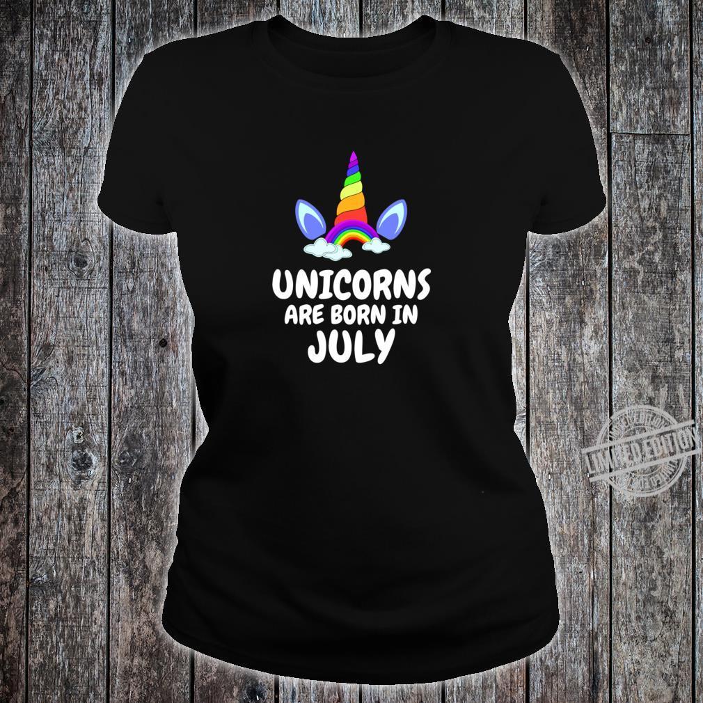 UNICORNS ARE BORN IN JULY Birthday Girl Lightweight Shirt ladies tee