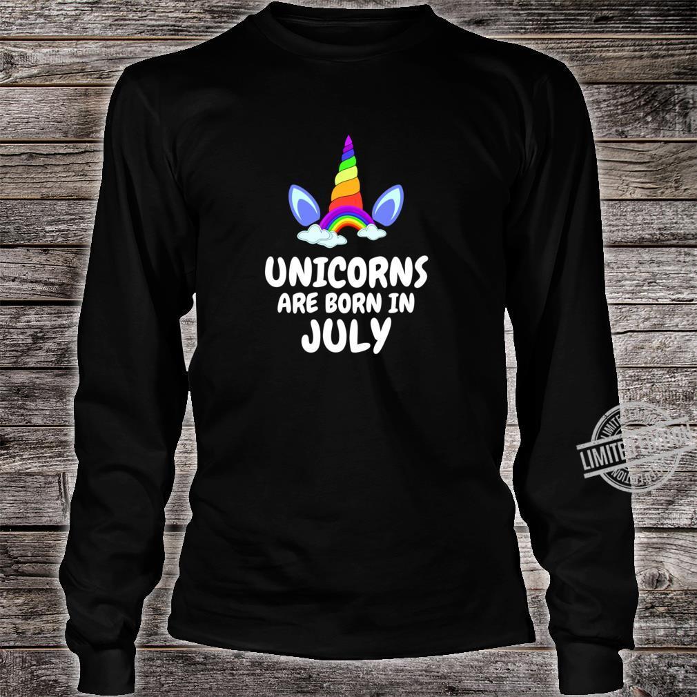 UNICORNS ARE BORN IN JULY Birthday Girl Lightweight Shirt long sleeved