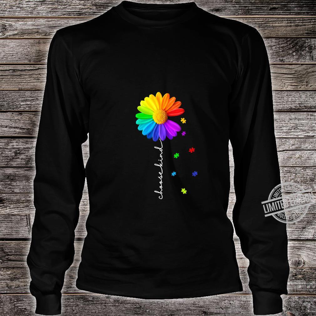 Womens Choose Kind Autism Awareness Daisy Flower Shirt long sleeved