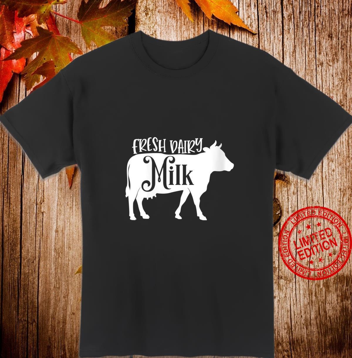 Womens Fresh Farm Milk Dairy Cow Calf Animal Cattle Farmer Shirt