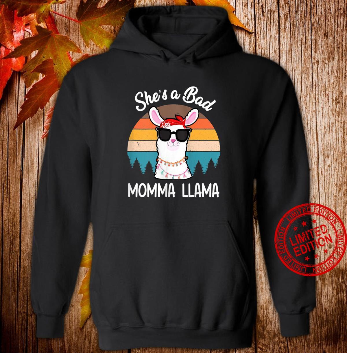 Womens Retro She's a Bad Momma Llama Mama Mothers Day Shirt hoodie
