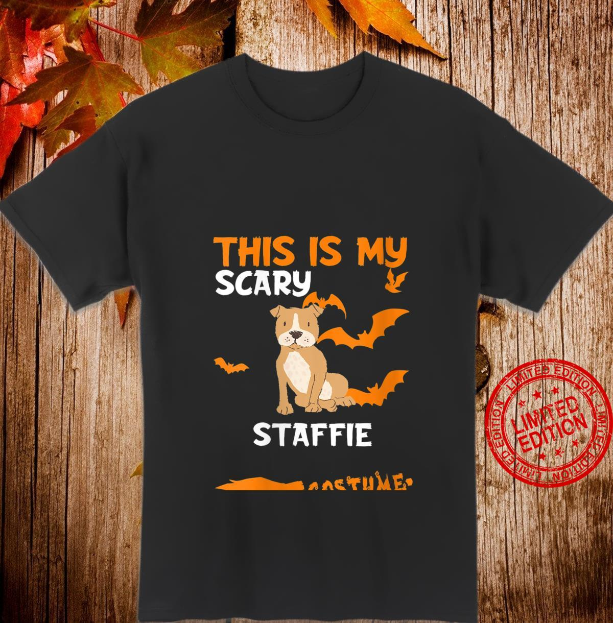 Womens Staffie Brown Costume Halloween Lazy Scary Dog Shirt