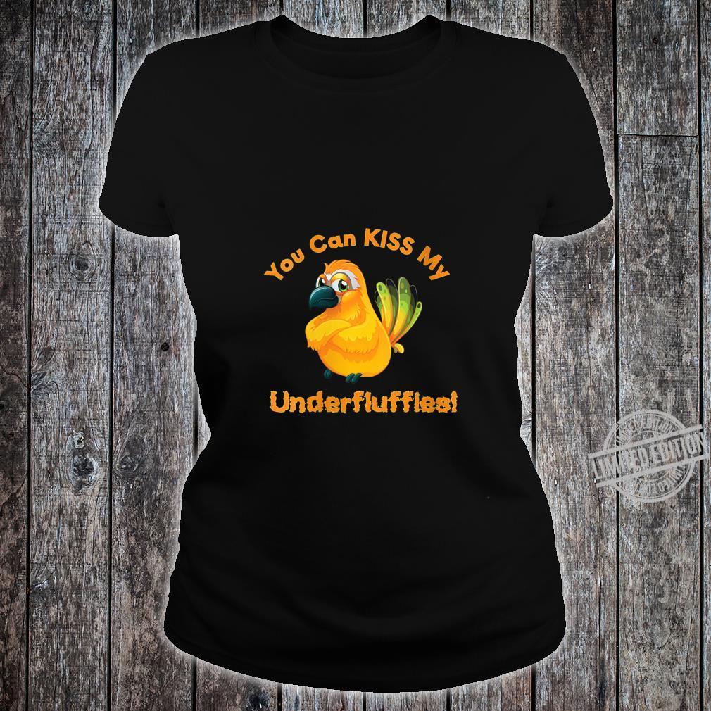 Womens Sun Conure Parrot Kiss Underfluffies Shirt ladies tee
